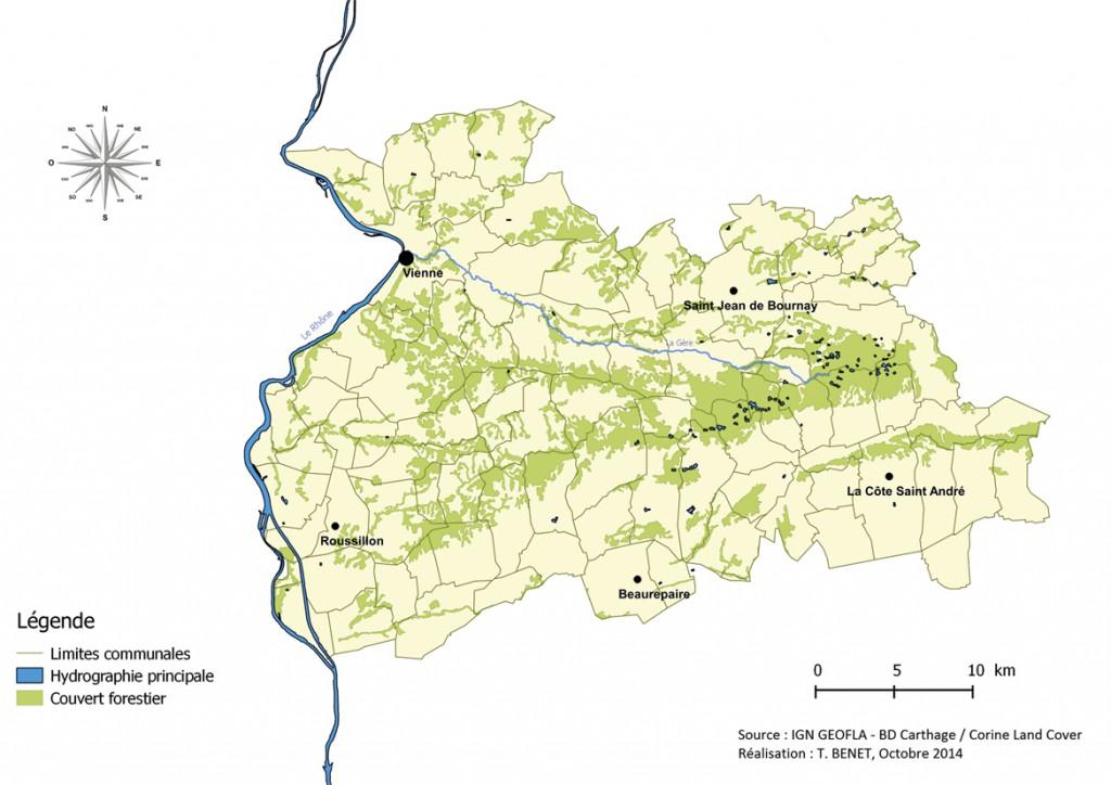 Le territoire de Charte Forestière de Territoire Bas-Dauphiné Bonnevaux